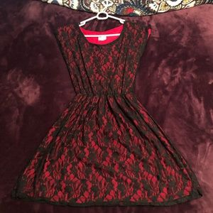 Lacy black & red dress.